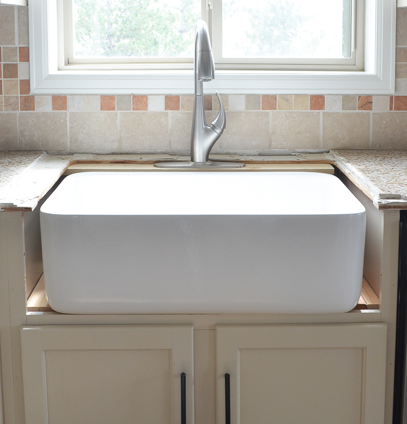 install new kitchen sink kitchen progress installing the farmhouse sink 4722
