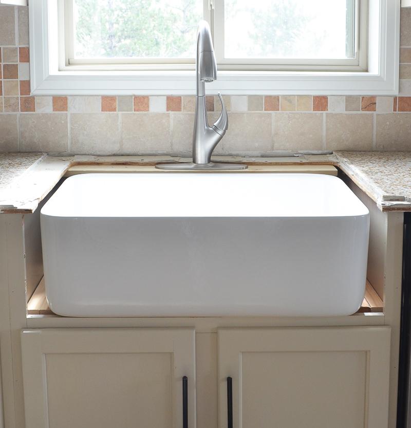 Installing Kitchen Sink: Kitchen Progress: Installing The Farmhouse Sink
