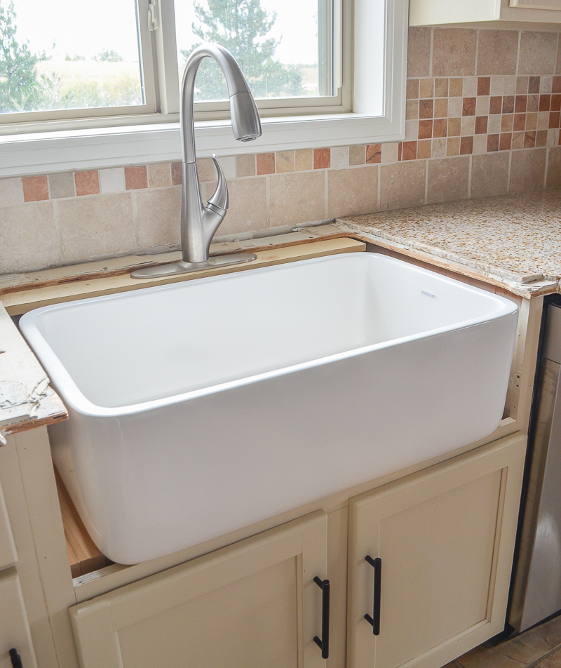 Obviously We Had To Get Creative With The Faucet Situation Until Our New  Countertops Are Installed Soon. Since This Is An Undermount Sink The Faucet  Will ...