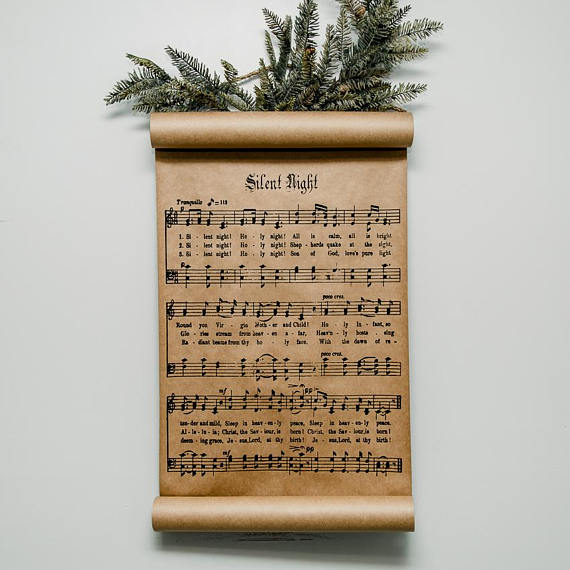 Farmhouse style Christmas scroll with Silent Night hymn.