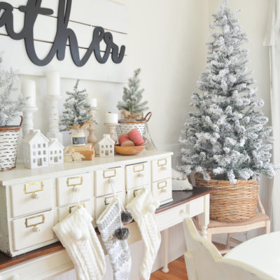 Farmhouse Christmas Decor + Vintage Card Catalog