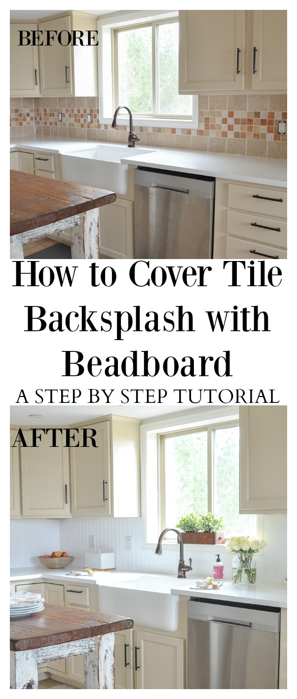 How to cover tile backsplash with beadboard how to cover tile backsplash with beadboard a step by step tutorial dailygadgetfo Image collections