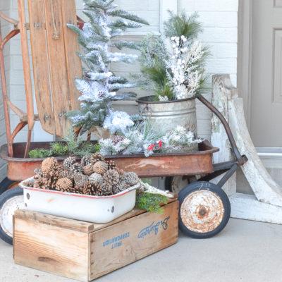 Simple Vintage Farmhouse Winter Porch