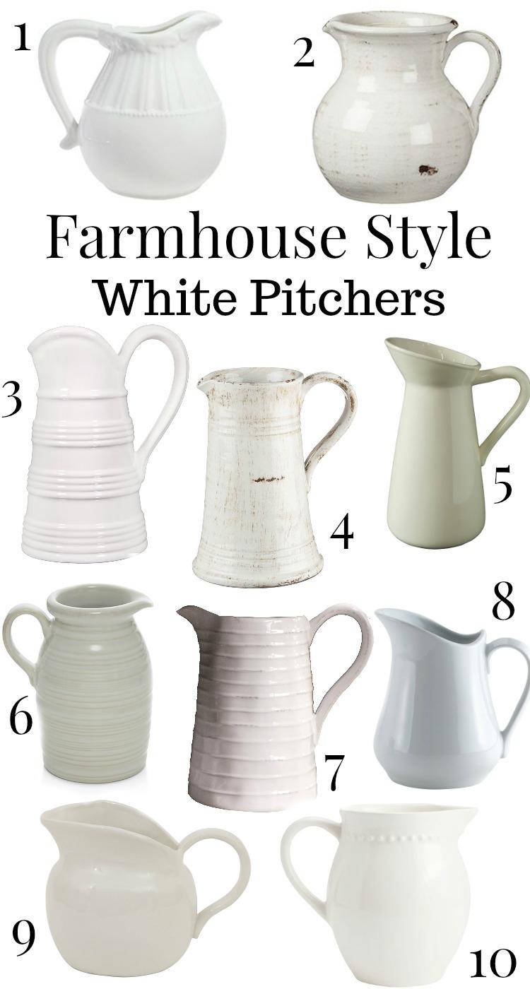 Farmhouse style white pitchers. Great decor for a farmhouse style kitchen!