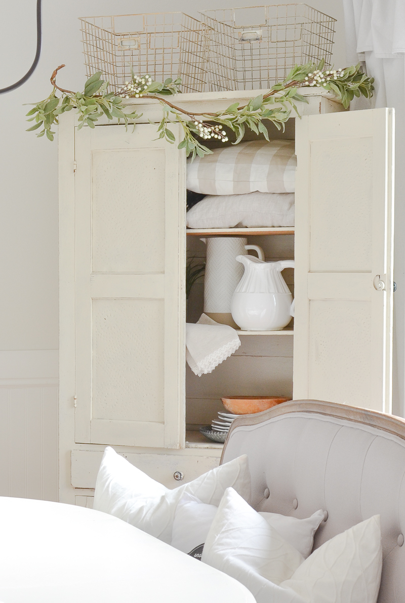 Farmhouse style cabinet in dining room