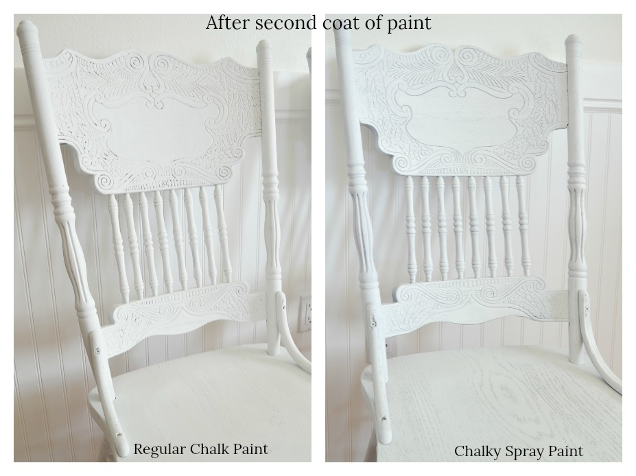 side-by-side comparison and review oftheRust-Oleum chalky spray paint and the regular Rust-Oleum chalk paint