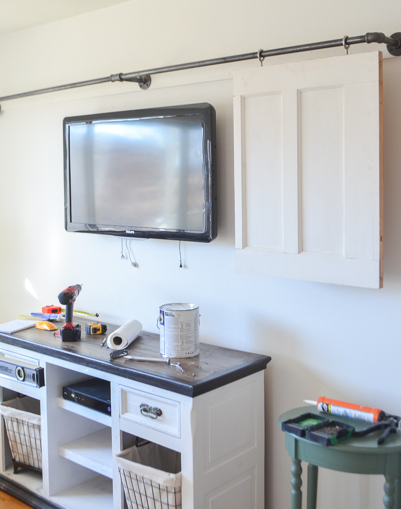 DIY Television Cover with Old Doors