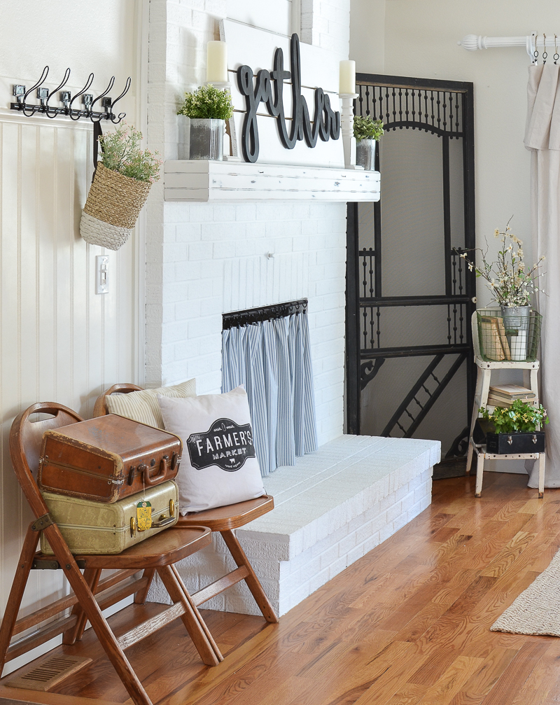 Farmhouse style fireplace and living room decor