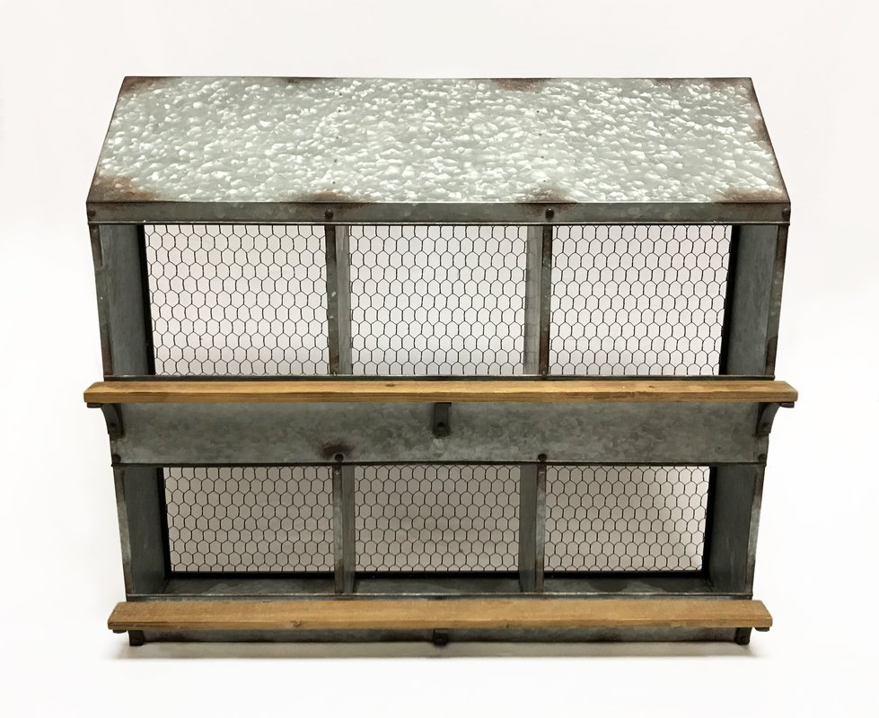 Vintage inspired chicken coop wall shelf