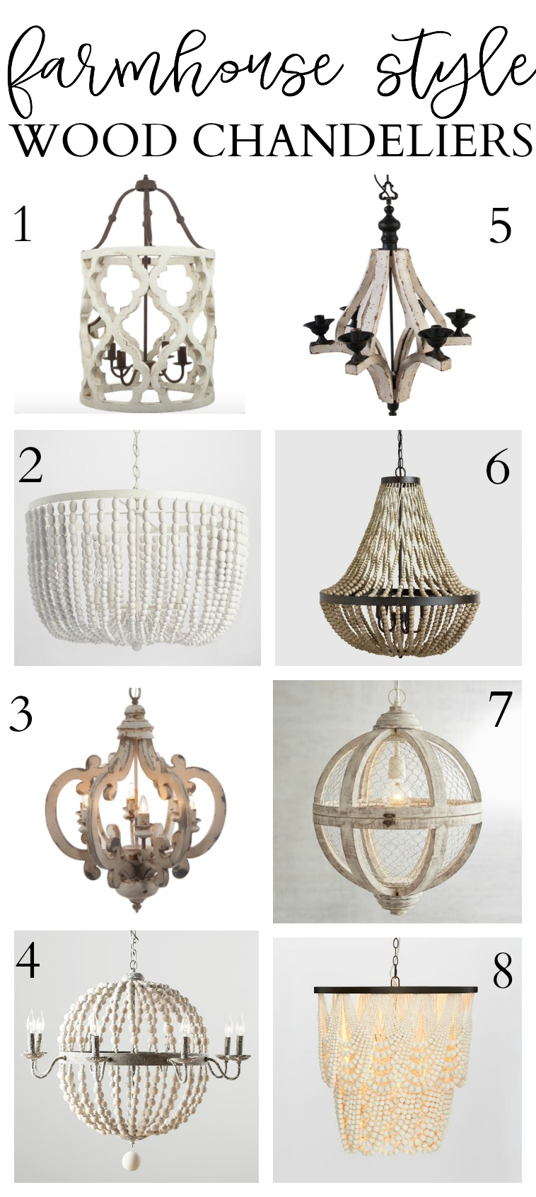 8 Farmhouse Style Wood Chandeliers