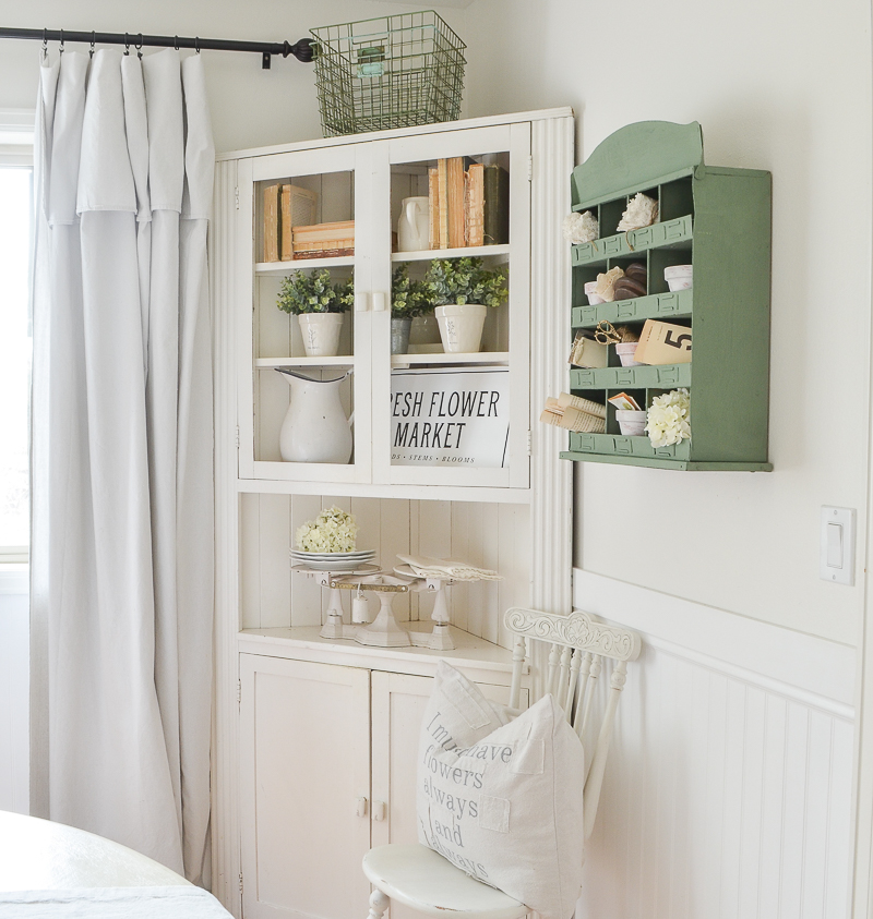 Chalk painted metal cubby