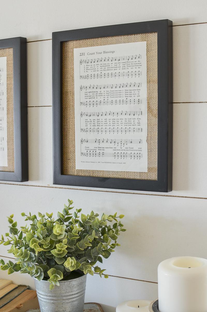 DIY Framed Vintage Hymnal Sheet Music