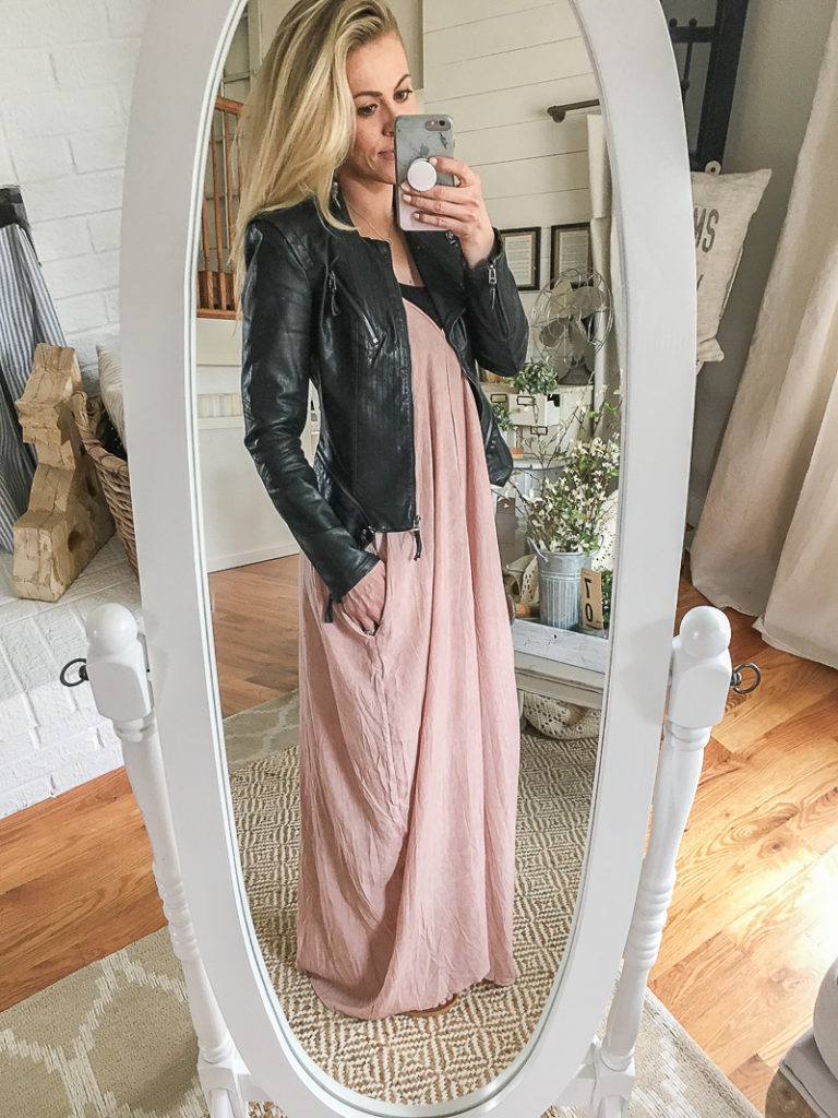 the best leather jacket and maxi dress!