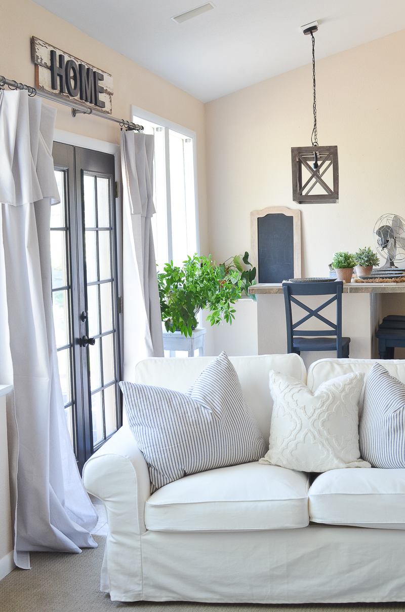 Farmhouse style living room and bar area.