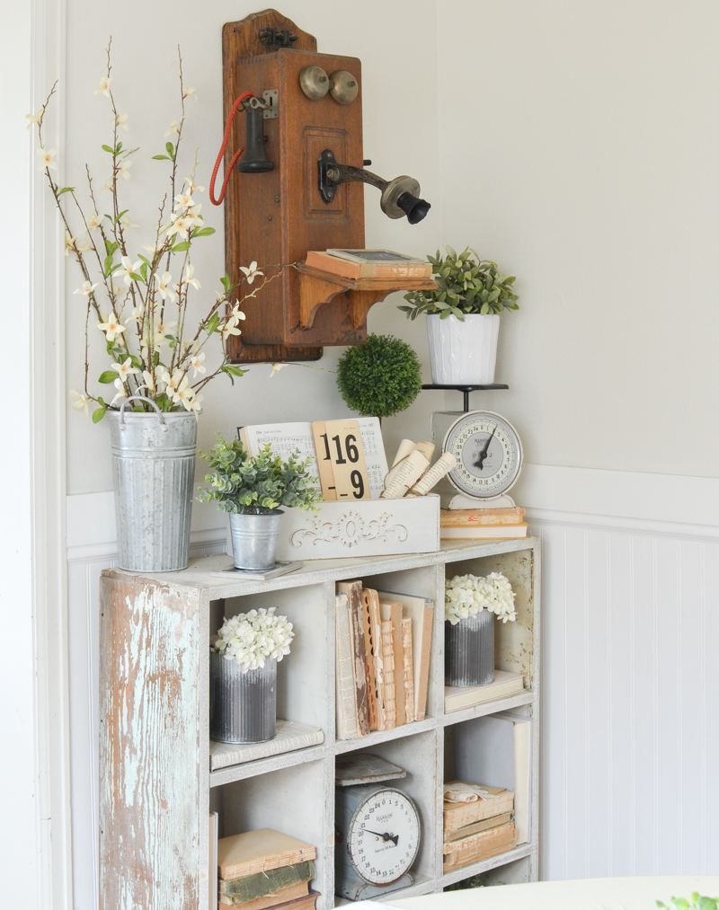 Farmhouse style decor and a vintage telephone