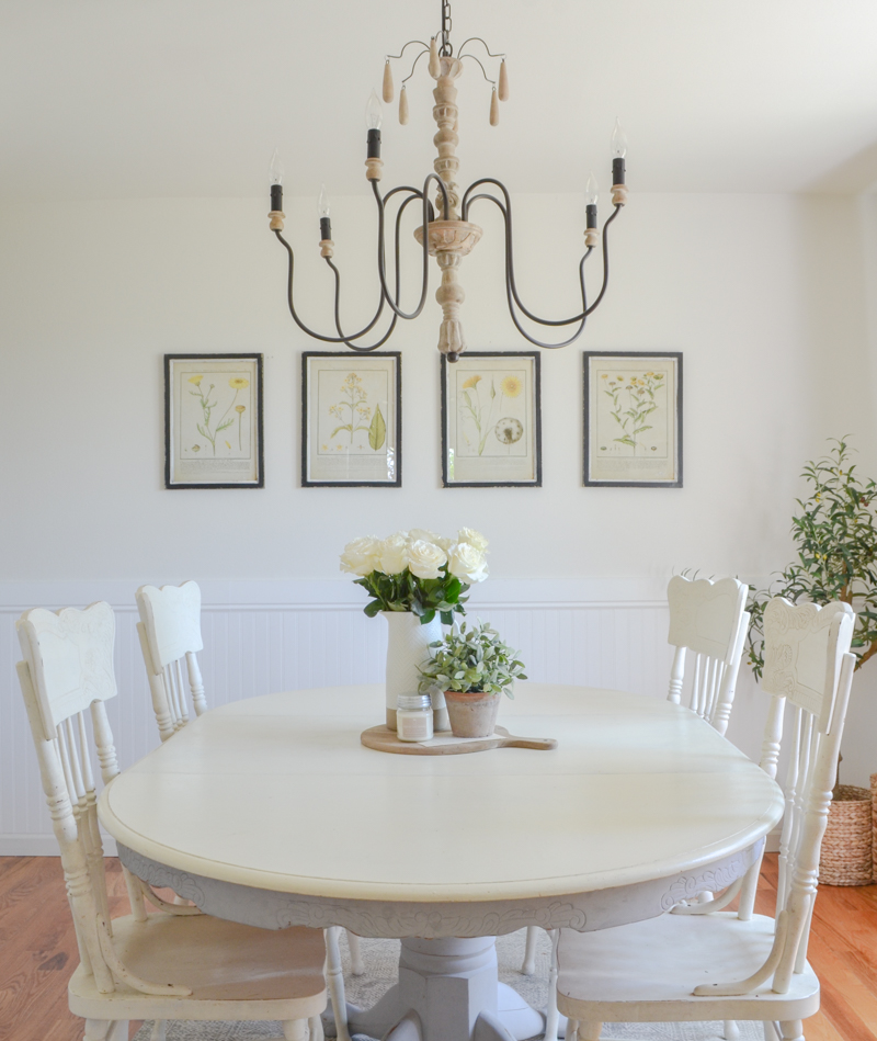 Farmhouse Style Dining Room And Botanical Prints