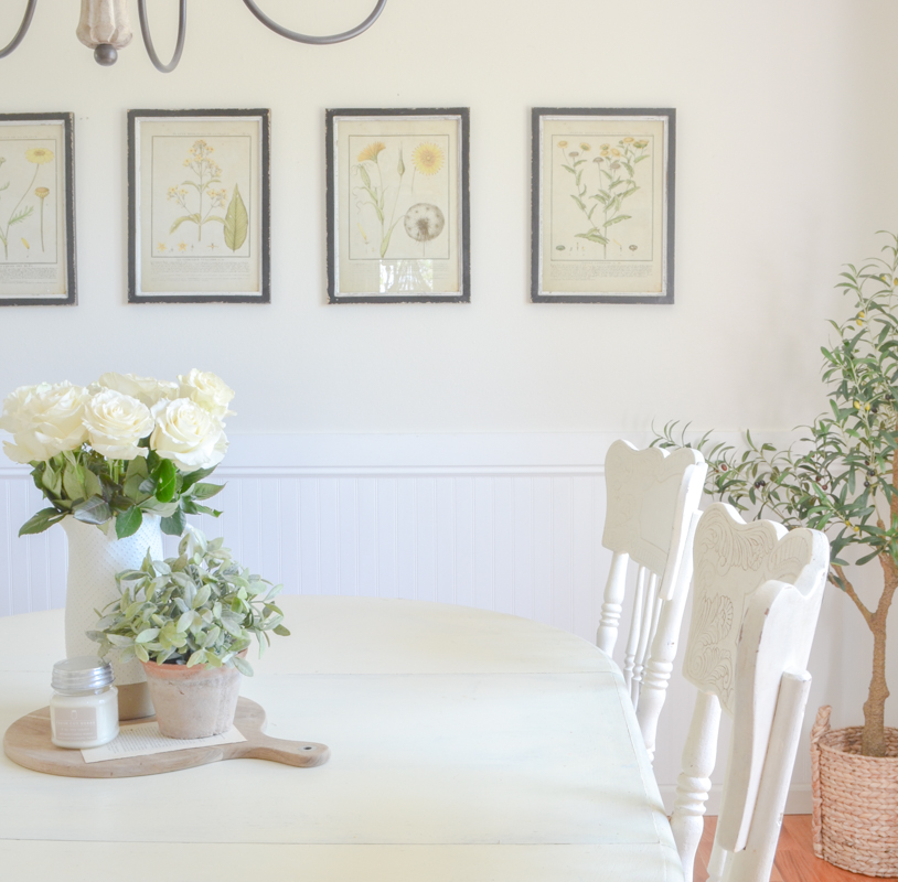 Farmhouse style decor and vintage botanical prints