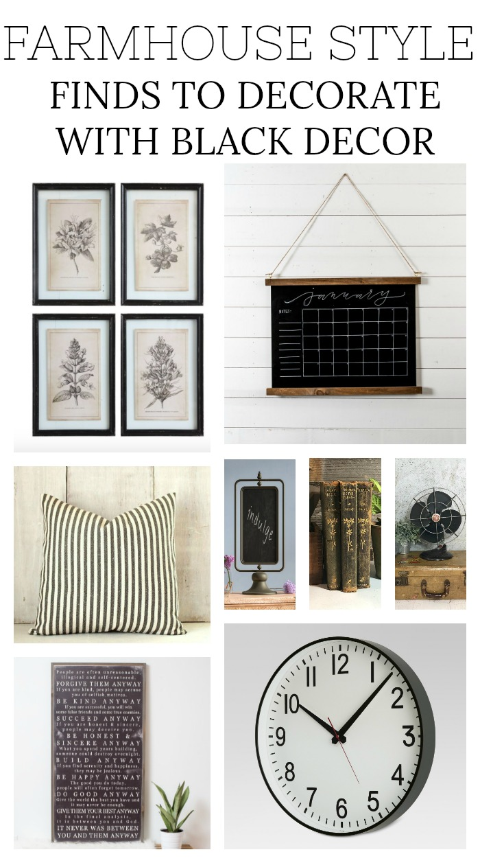 FARMHOUSE STYLE FINDS TO DECORATE WITH BLACK DECOR