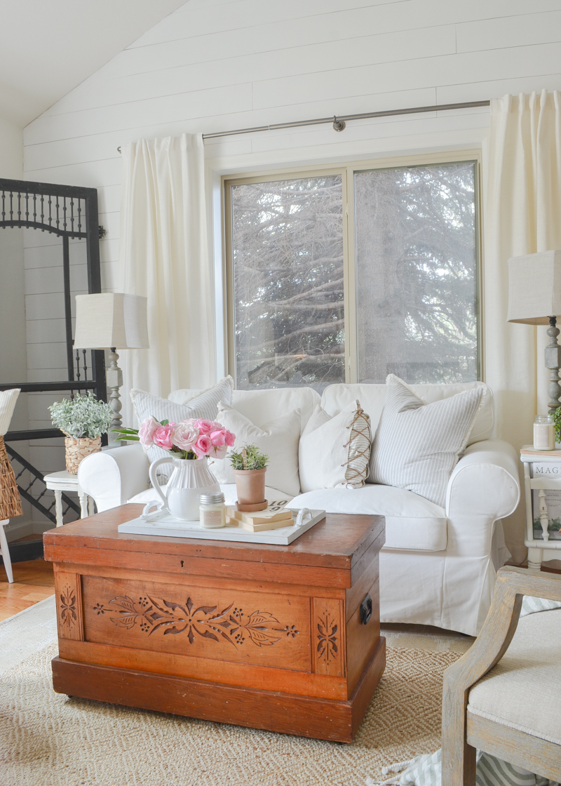 Farmhouse style living room inspiration. Vintage trunk used as coffee table.