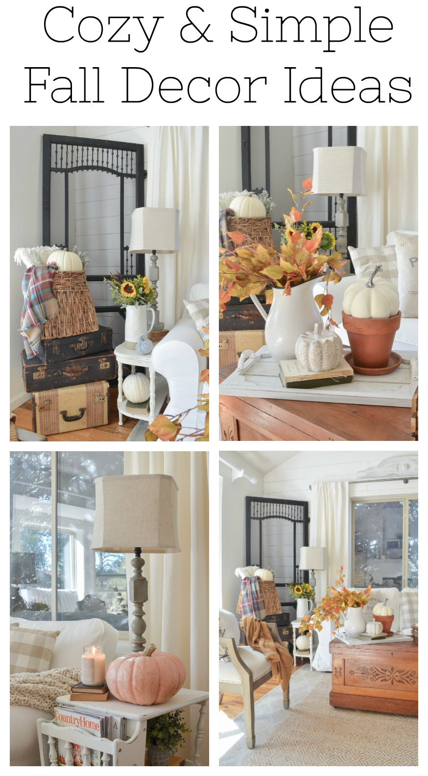 Cozy and simple fall decor ideas. Easy fall decorating ideas for any room in your home!